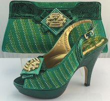 ME3307 Grüne Schuhe Für Großverkauf Afrikanische Pumpt Schuhe Mit Tasche Fashion Italienische Schuhe Und Tasche Stellt Für Partei