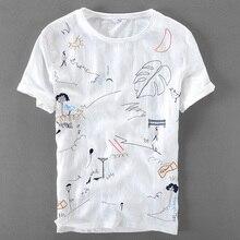 Italy brand linen short sleeve t-shirt men casual loose