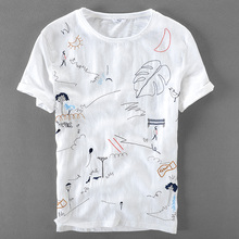 ФОТО italy brand linen short sleeve t-shirt men casual loose t shirt mens cartoon embroidery stitching round neck tshirt male camisa