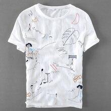 T-shirt en lin à manches courtes pour homme, haut de marque italienne, ample, col rond, avec broderie, dessin animé, décontracté