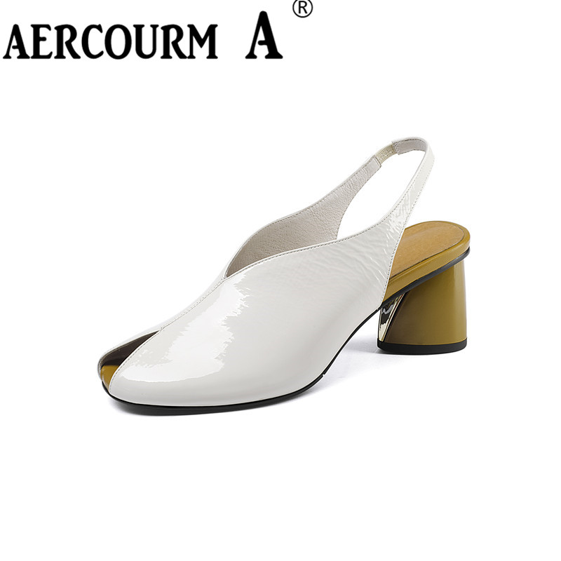 Aercourm A Women Solid Colors Genuine Leather Sandals Girls Square Heels Sandals Lady Buckle Summer Shoes 2018 Female Sandals dahua 4mp ptz full hd 30x network ir ptz