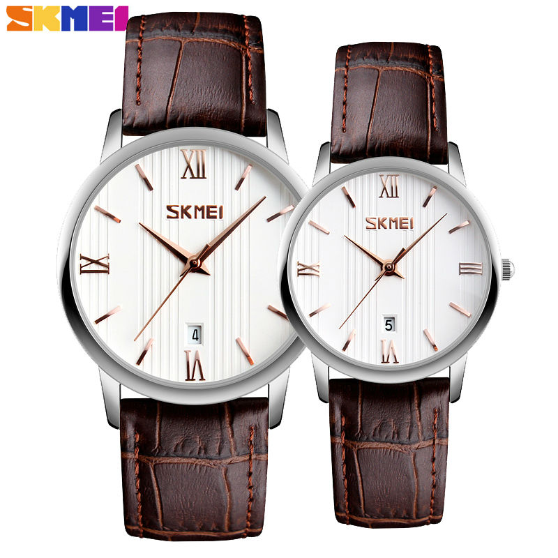 SKMEI Brand Lovers Quartz Women Watches Men Watch Relogio Masculino Feminino Leather Strap Waterproof Ladies Wristwatches 9130 relojes mujer 2016 quartz watch women watches relogio feminino women s leather dress fashion brand skmei waterproof wristwatches