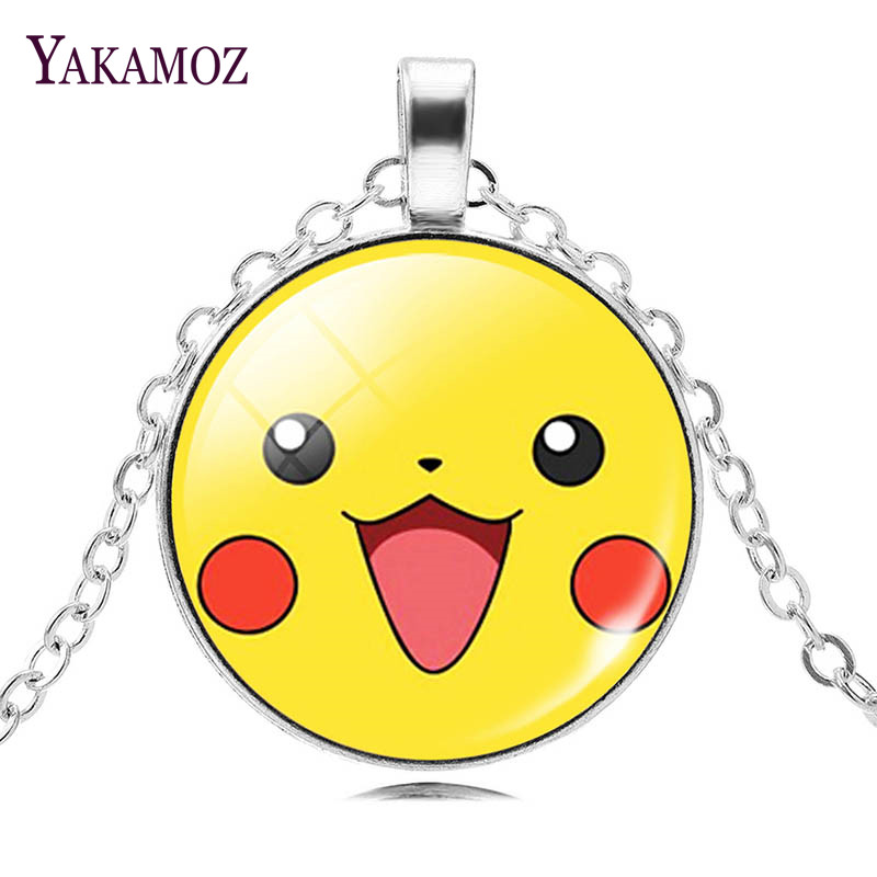 Fashion Women Necklaces Pokemon Jewelry Lovely Pikachu Pokeball Pendant Necklaces Silver Plated Men Chain Statement Necklaces