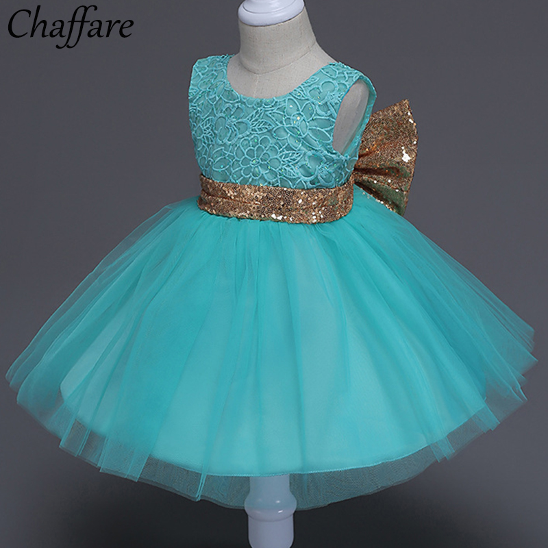 Chaffare Little Girl Party Dress Christening Lace Baby Dresses Big Bow Birthay Girls Flower Frocks Children Wedding Clothing ...