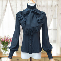 Vintage Lolita Gömlek Kadın Giyim 4 Renkler Uzun Kollu Standı Yaka Uzun Kollu Yay Düğmesi Mori Kız Bluzlar Blusas U313