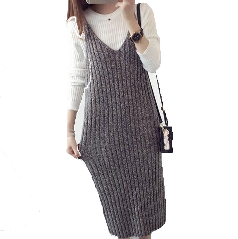 2017 New Sleeveless Sweater Dress Knitted V Neck Basic Solid Vest women dress spring gray vestidos plus size AE2083 заклепочник kraftool industrie 31178