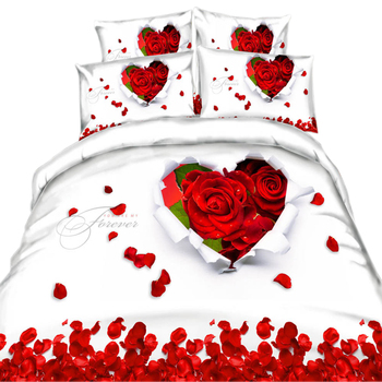3D Bedding Red Rose Prints 3/4 Pieces Floral Bedding Sets 100% Cotton Wedding Duvet Cover Pillow Cases Without Filling