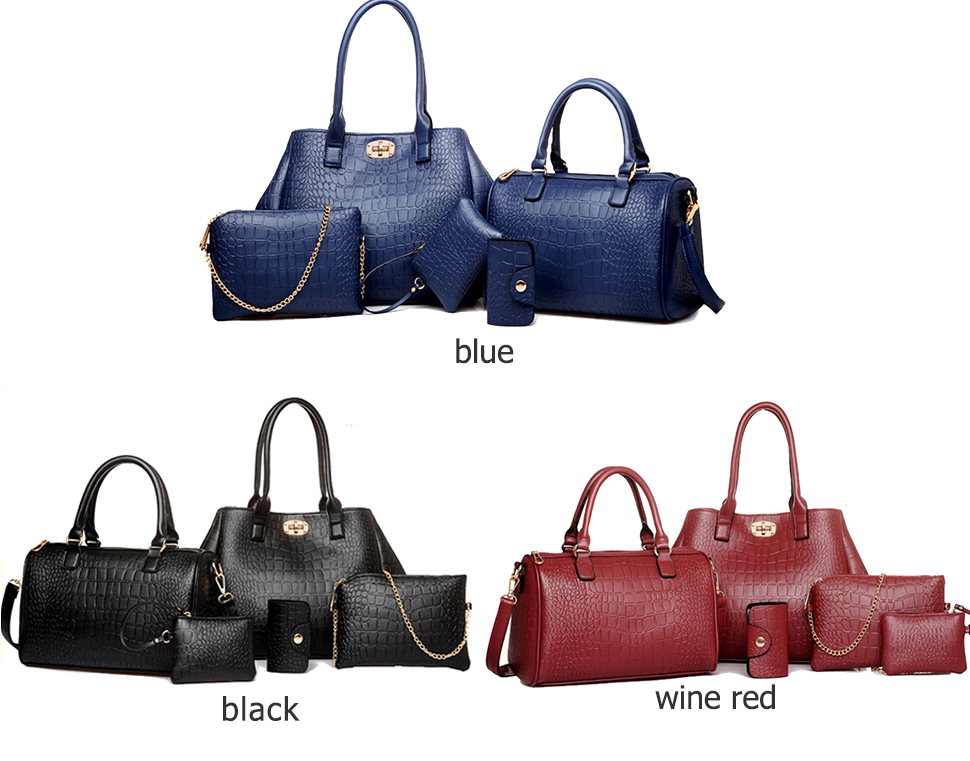 1ae43b21ae9 Women Bag Leather Handbag Female 4 Sets Composite Bag Totes Women's  Shoulder Handbags And Purses Crocodile Pattern Clutch