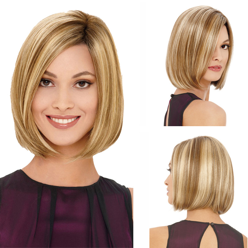 New Stylish Synthetic Wigs Bobo Short Straight Hair Ruili Golden With Blonde Highlights Wig For Women Glamorous Fashion Lady