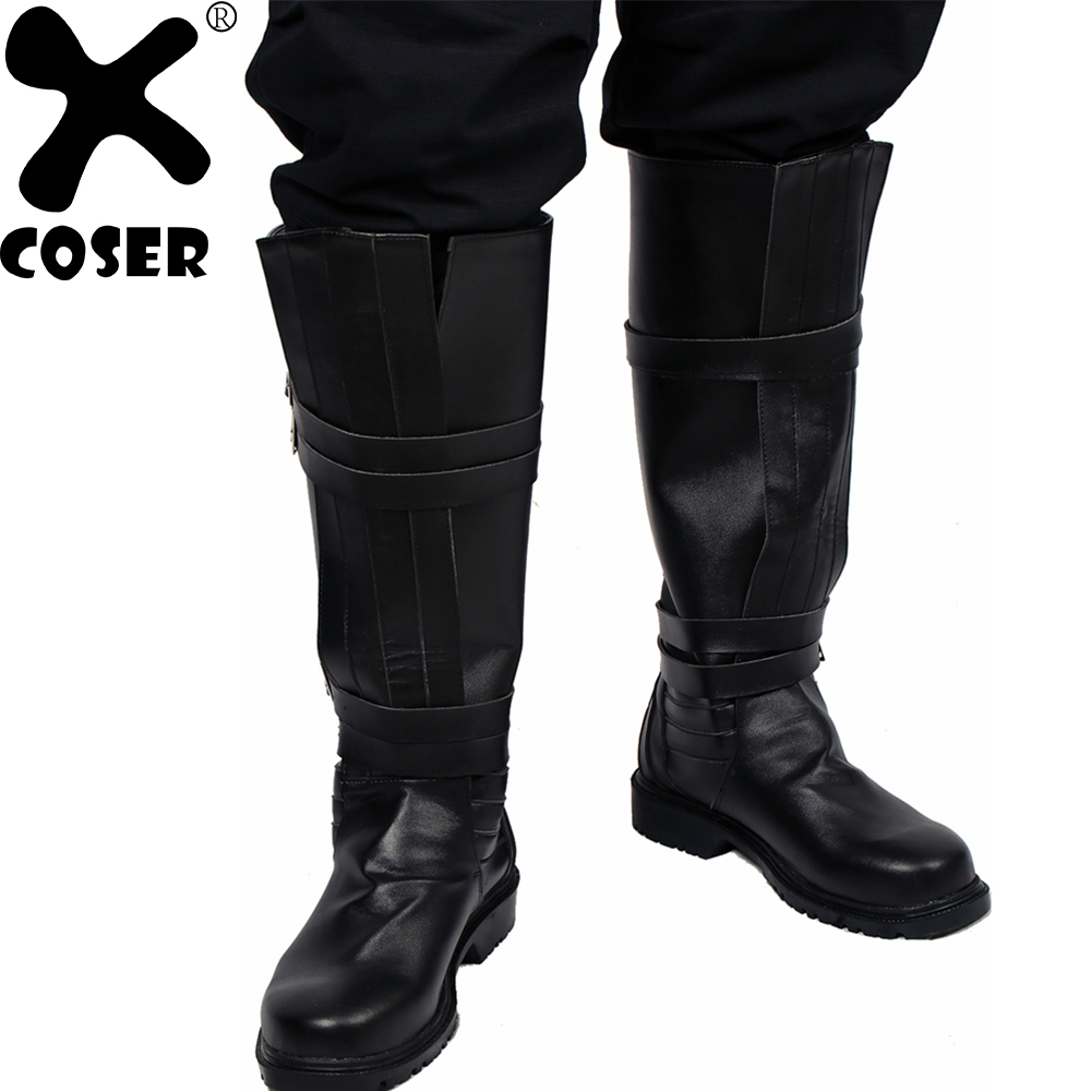 XCOSER Star War Kylo Ren Riding Boot 2018 Halloween Party Cool Black PU Leather Knee Boots Movie Cosplay Shoes For Men Male