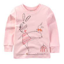 2016 Cute Rabbit Children Girls Cotton Autumn T-Shirt For 1-6Y Kids Jumpingbaby Brand Long Sleeve Tees Child Top Clothes