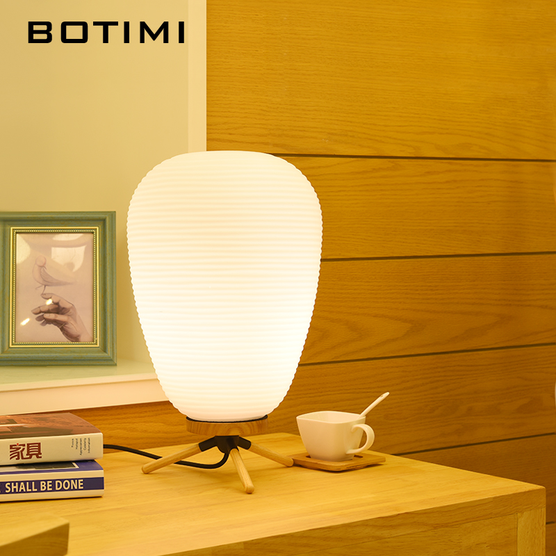 BOTIMI LED Table Lamp With Glass Lampshade Wooden Bedside Desk lights Button Switch Book Lamps Hotel Reading Lighting Fixture