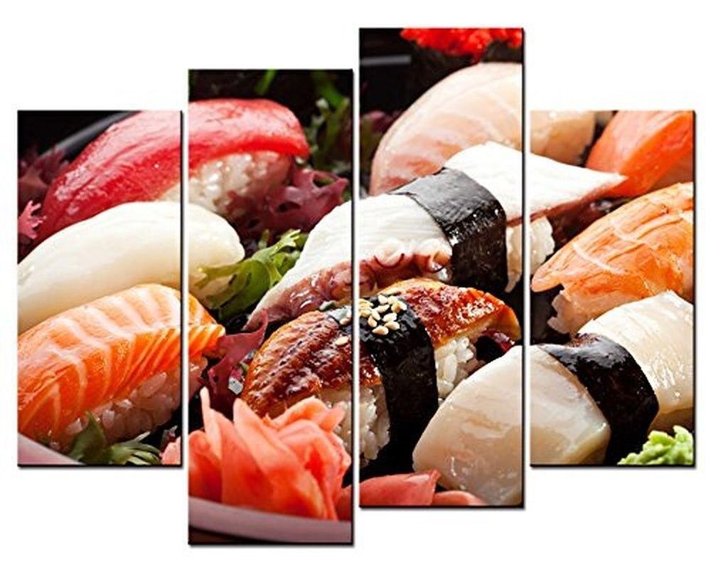 ヾ(^▽^)ノ4 paneles delicioso sushi imprime pintura pared arte ...