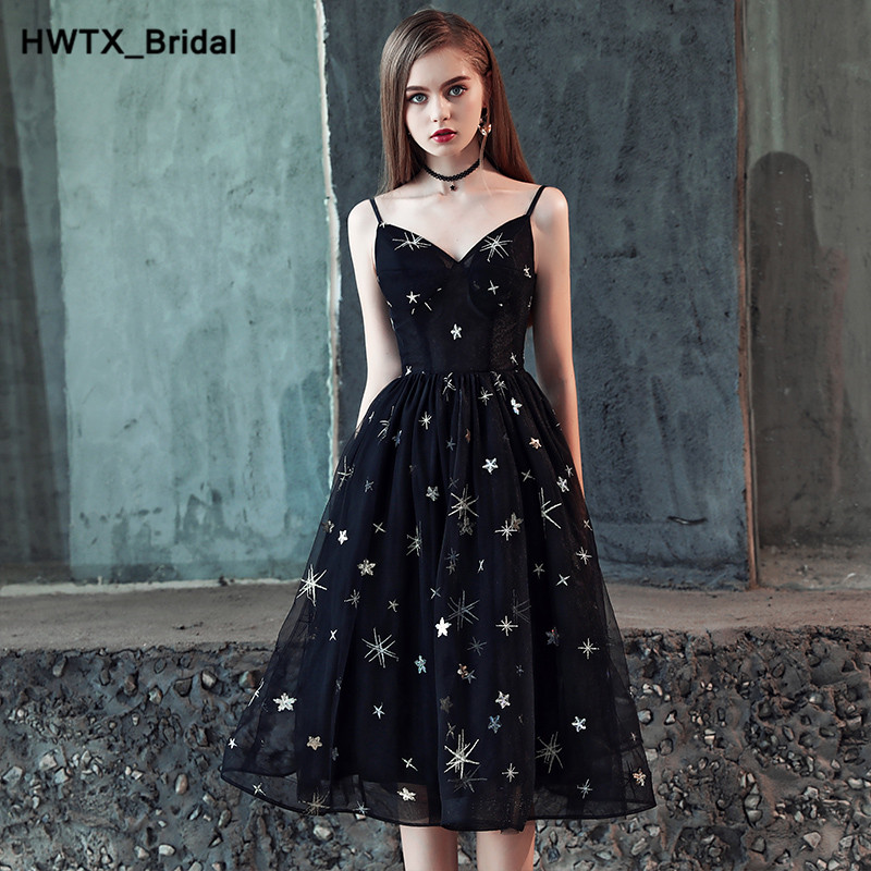 Romantic Black Short   Bridesmaid     Dresses   Sexy V-neck Knee Length A-Line Tulle   Dress   Wedding Party Wear New Fashion Party Gowns