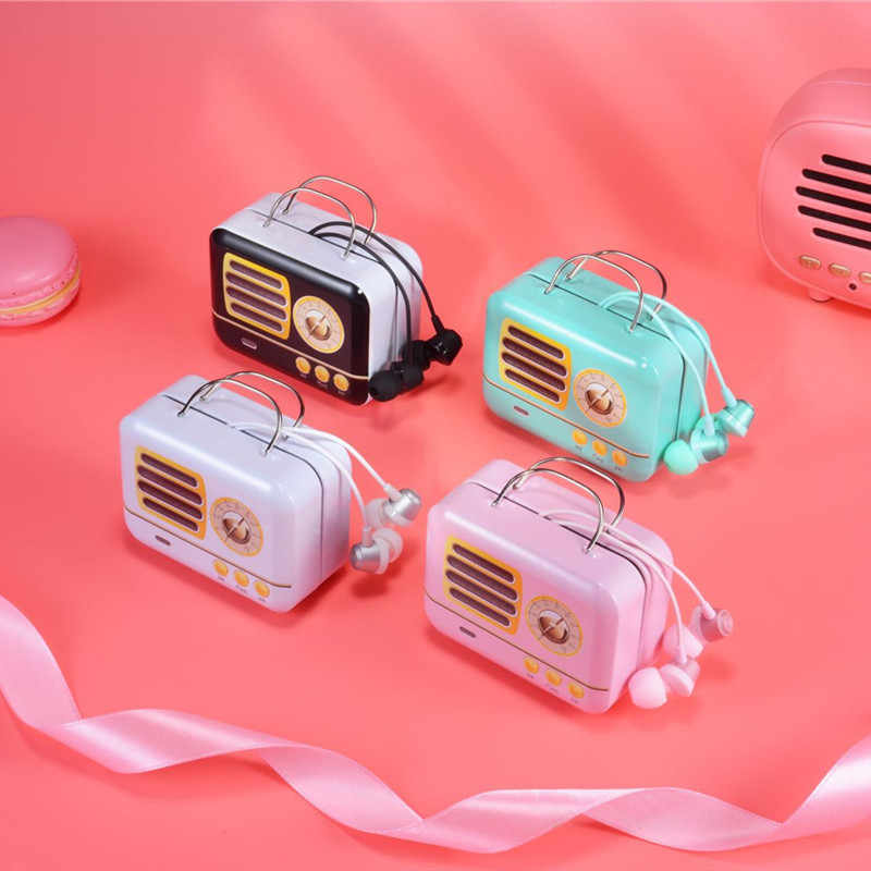 Retro Radio Style Wired Headphones With Mic Earbuds Earphones with Case For Xiaomi Samsung iPhone Mobile Phone for kids girls