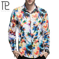 Tailor Pal Love 2018 New Arrivals Fashion Hawaiian Men Shirt Long Sleeve Casual Chemise Homme Floral