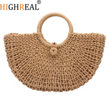 Summer Rattan Handmade Knitted Round Beach Bag Bali Women Circle Straw Bags Butterfly Bohemia Lady Purse White Brown Handbags