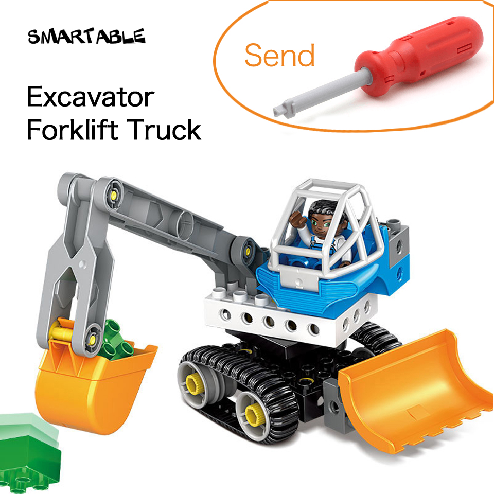 Smartable Engineering Excavator Forklift Truck Big Building Blocks Toys Set For Child Educational Compatible Legoing Duplo Gift 196pcs building blocks urban engineering team excavator modeling design