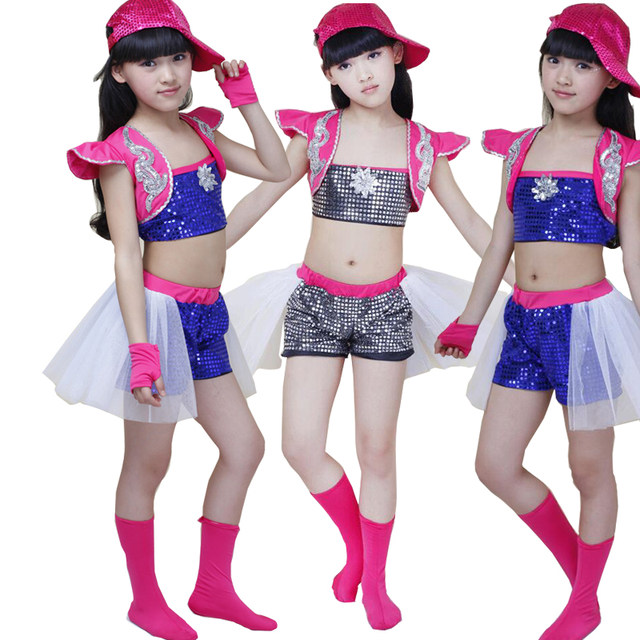 8fc339b40 Online Shop New Girls Sequined Jazz Modern Dance Costumes Kids Hip Hop Dancewear  Costumes Set Topu0026Pants | Aliexpress Mobile Sc 1 St Aliexpress