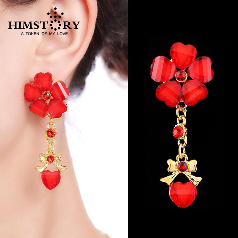 Himstory Beautiful Rose Red Flower Earrings For Women Fashion Wedding Jewelry Heart Shape Drop In From Accessories On