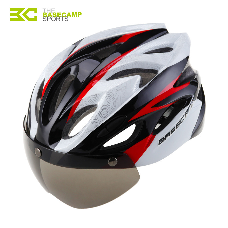 Basecamp Bicycle Helmet Goggles Bke Helmet Men Women Lens Cycling Helmets Shield Visor Road Bike Helmets MTB Windproof Glasses new bicycle helmets with cycling glasses ultralight breathable men women professional bike helmets mirror 3 lens h5063