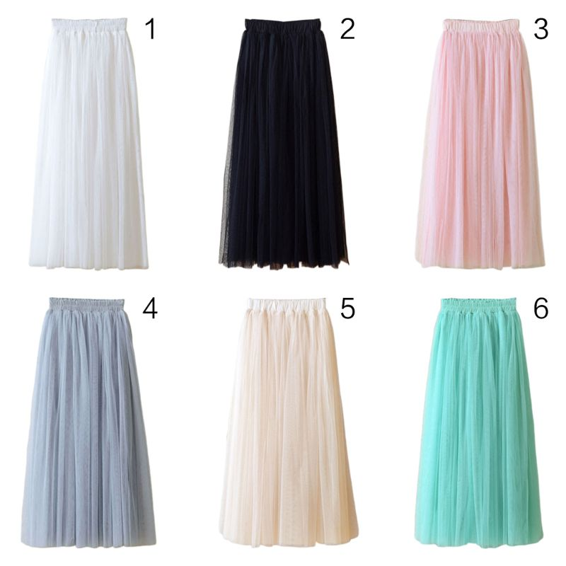 80CM Womens High Waist Three Layer Sheer Mesh Pleated Tulle Midi Long Tutu Skirt Sweet Solid Candy Color Drape Swing Loose