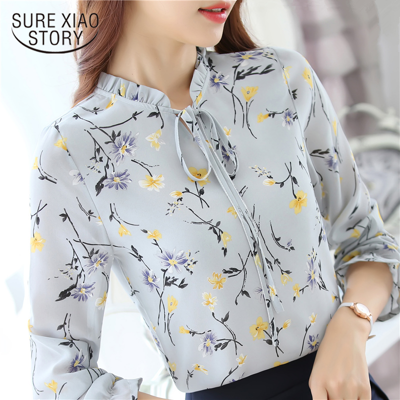 2019 New spring autumn Korean Slim Formal Commuter Solid Color Long-sleeved   Shirt     blouses   Career Women Strand Collar Tops 288J