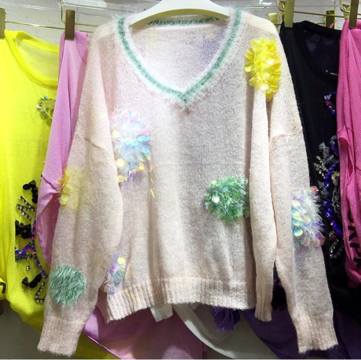 Pink Tricots Mohair Manches V Sequin Col Bleu Lâche En De Pull blanc Étudiants 2018 Automne Chemise Longues Casual light Nouveau Tricot Femmes wqTppR