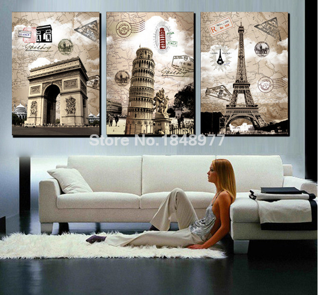 3 Panel Modern Home Decor Abstract Wall Art Paintings Famous European Building Paris Italy Eiffel Tower For Living Room
