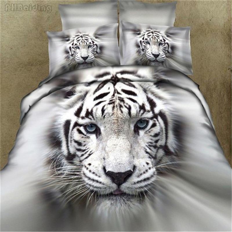 2019 New 3d White Tiger Head Bedding Set 100% Cotton Duvet