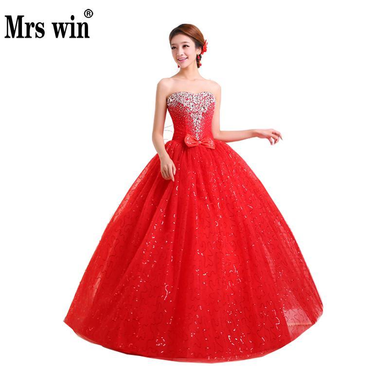 2019 New Red Strapless Wedding Dress Rhinestone Bride