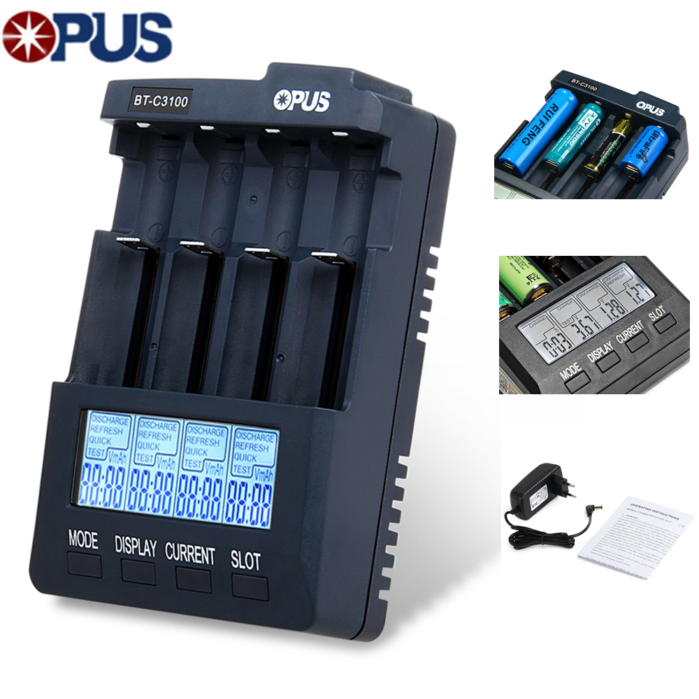Opus BT C3100 V2.2 Smart Universal LCD LI-ion NiCd NiMh AA AAA Battery Charger