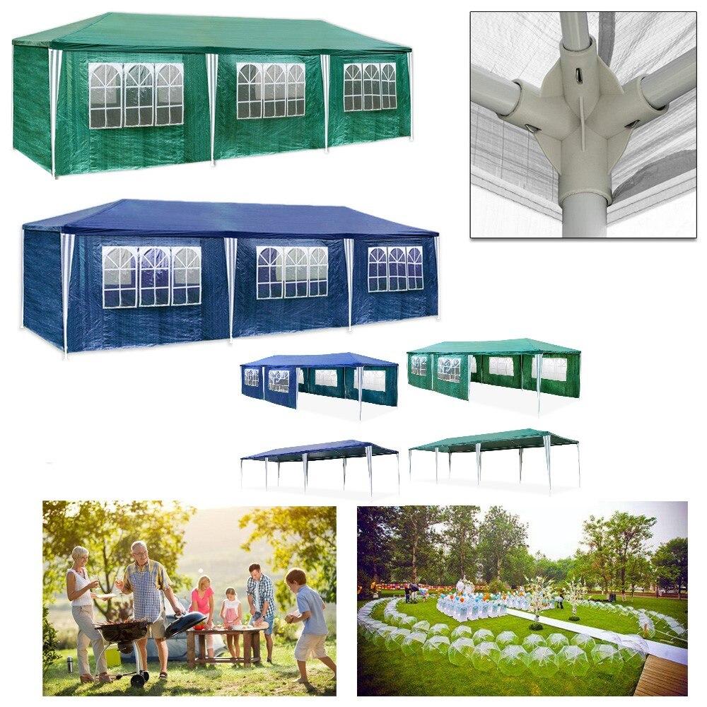 3X9 m Extérieure Garden Party de L'événement Gazebo Tente Chapiteau Auvent Étanche 8 côté murs Vert Bleu En Plein Air Activités auvent auvent