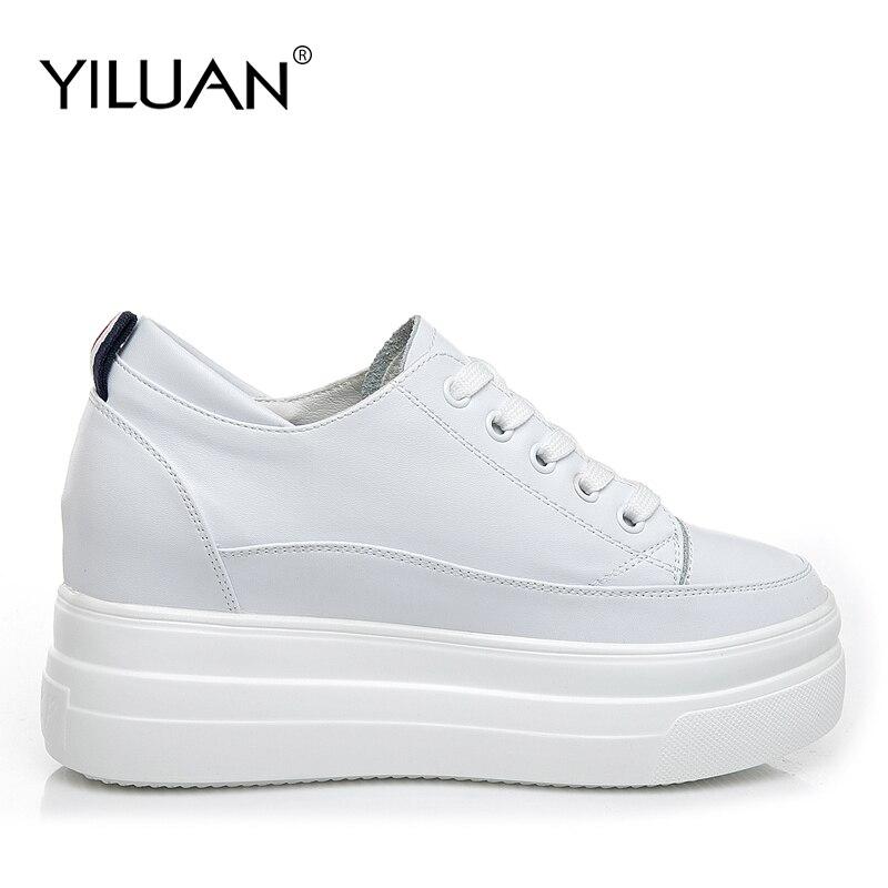 Yiluan cuir véritable femmes blanc chaussures plate-forme baskets 2019 printemps automne mode femmes noir augmenter chaussures femme décontractées - 3