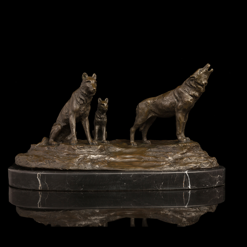 Best Selling metal art Bronze Wolf sculptures bronze statue roaring hungry Wolves figurines Retro Artwork Office Decoration