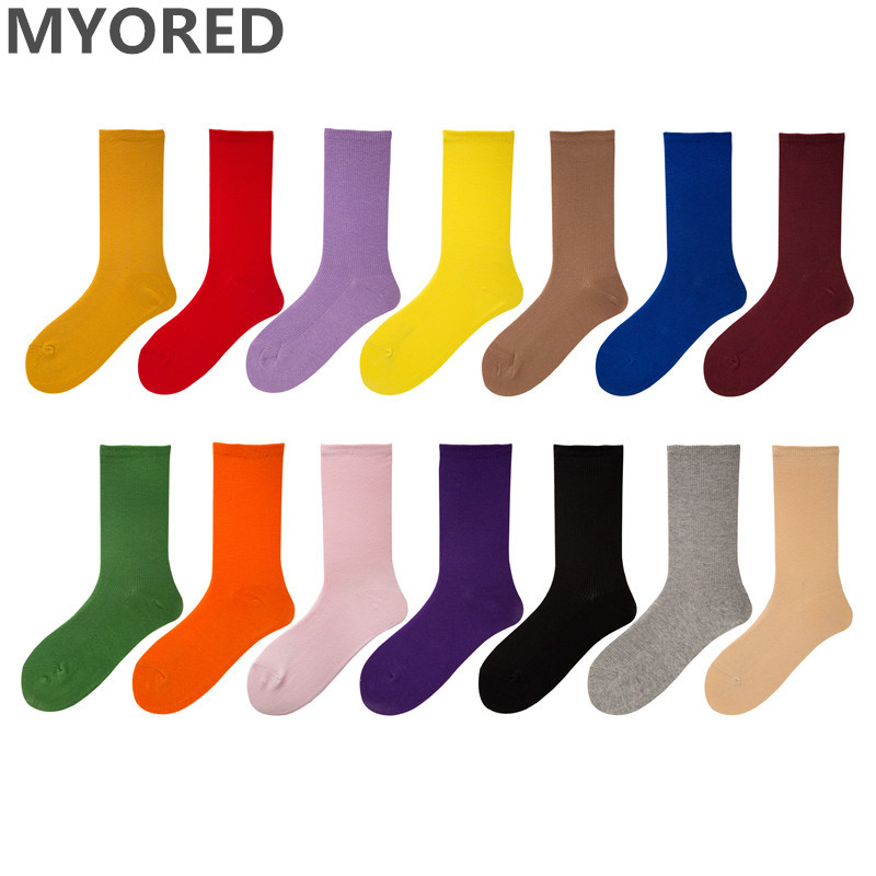 MYORED 1 pair women fashion Solid colored short   socks   cotton funny   socks   female Candy Color harajuku   socks   lady girls gift   socks