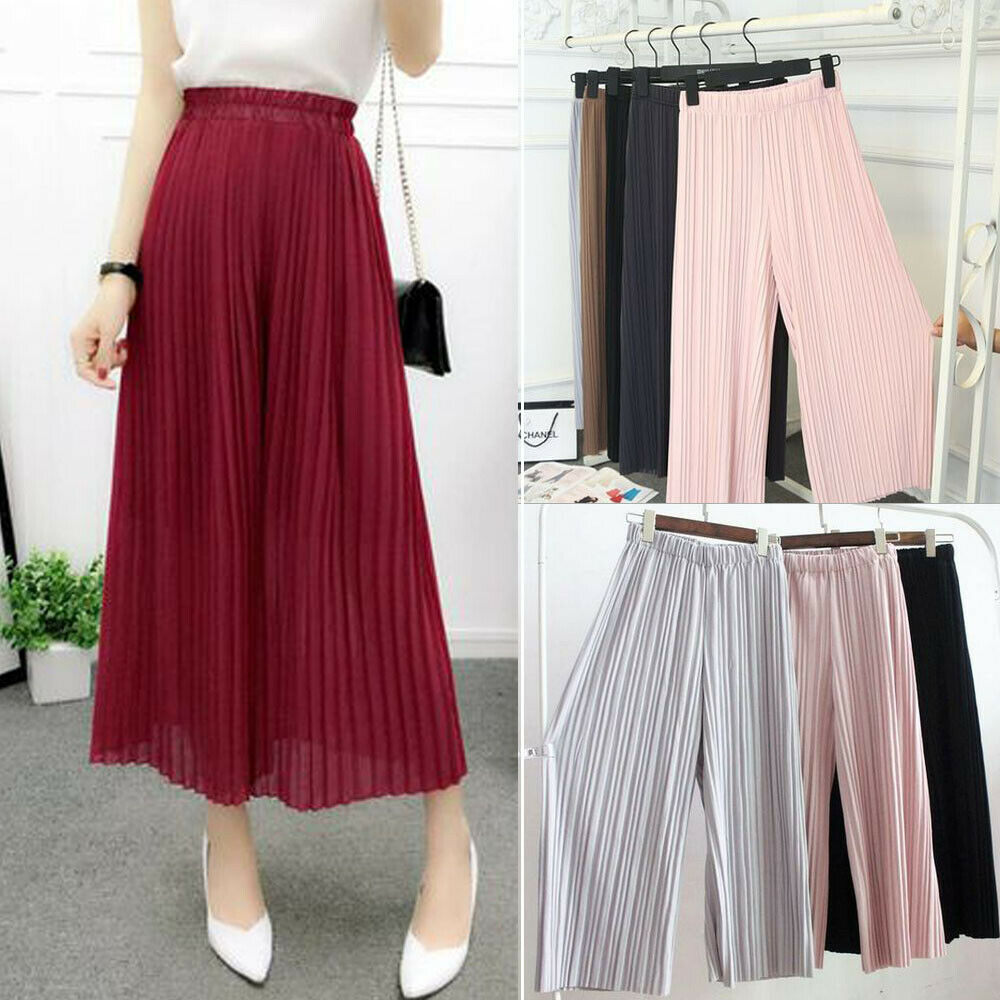 2019 Fashion Women Pleated Chiffon   Wide     Leg     Pants   Elastic High Waist Casual Culottes Trousers Summer