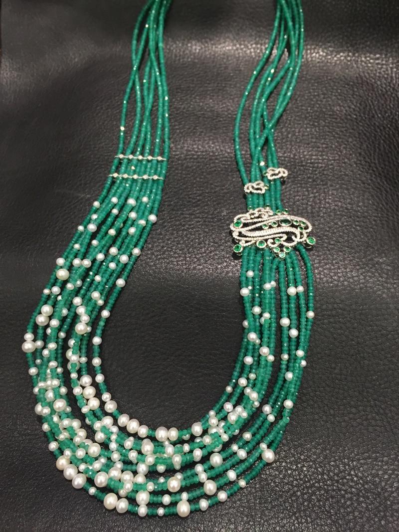 Свадебная вечеринка длинные Цепочки и ожерелья зеленый камень и пресной воды жемчуга нескольких слоев Цепочки и ожерелья Модные женские Тв