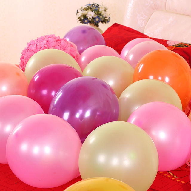 100pcs/pack Wedding Dresses Wedding Decoration Birthday Party Decorative Pearlescent Balloons Latex Balloons