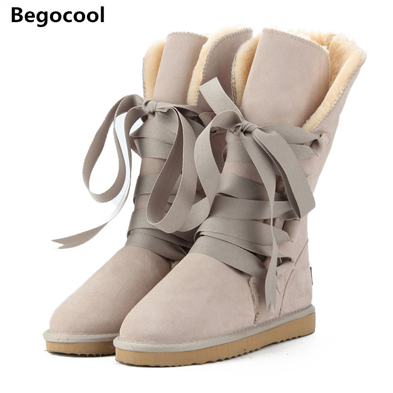 Begocool High Quality UG Snow Boots women's winter Boot Women Fashion Genuine Leather Australia Classic Women's High Boot Winter goncale high quality band snow boots women fashion genuine leather women s winter boot with black red brown ug womens boots
