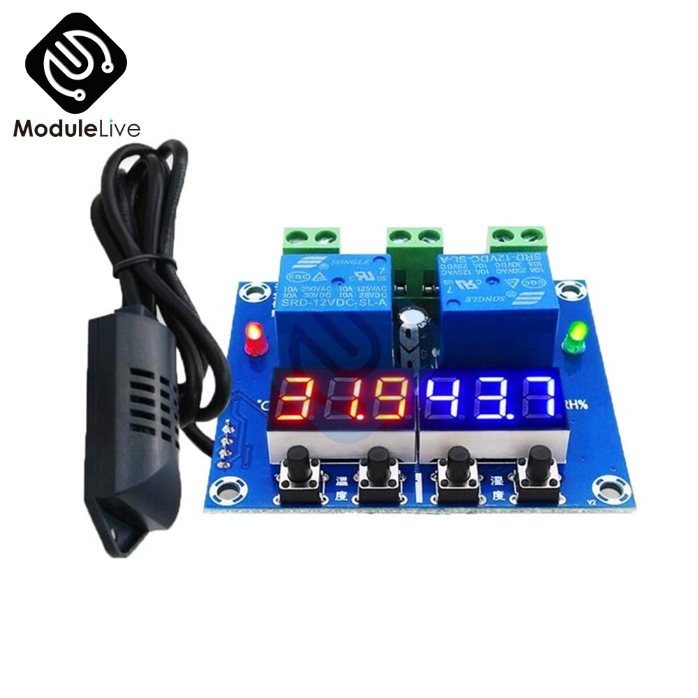 XH-M452 High Precision DC 12V 10A Digital LED Dual Output Temperature and Humidity Controller Module 20-60 Celsius -0 -100 RH