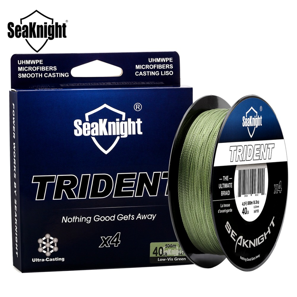 SeaKnight Brand TRIDENT 500M 547YDS PE Braided Fishing Line 4 Strands Multifilament Strong Japan Material Braided Wire Saltwater