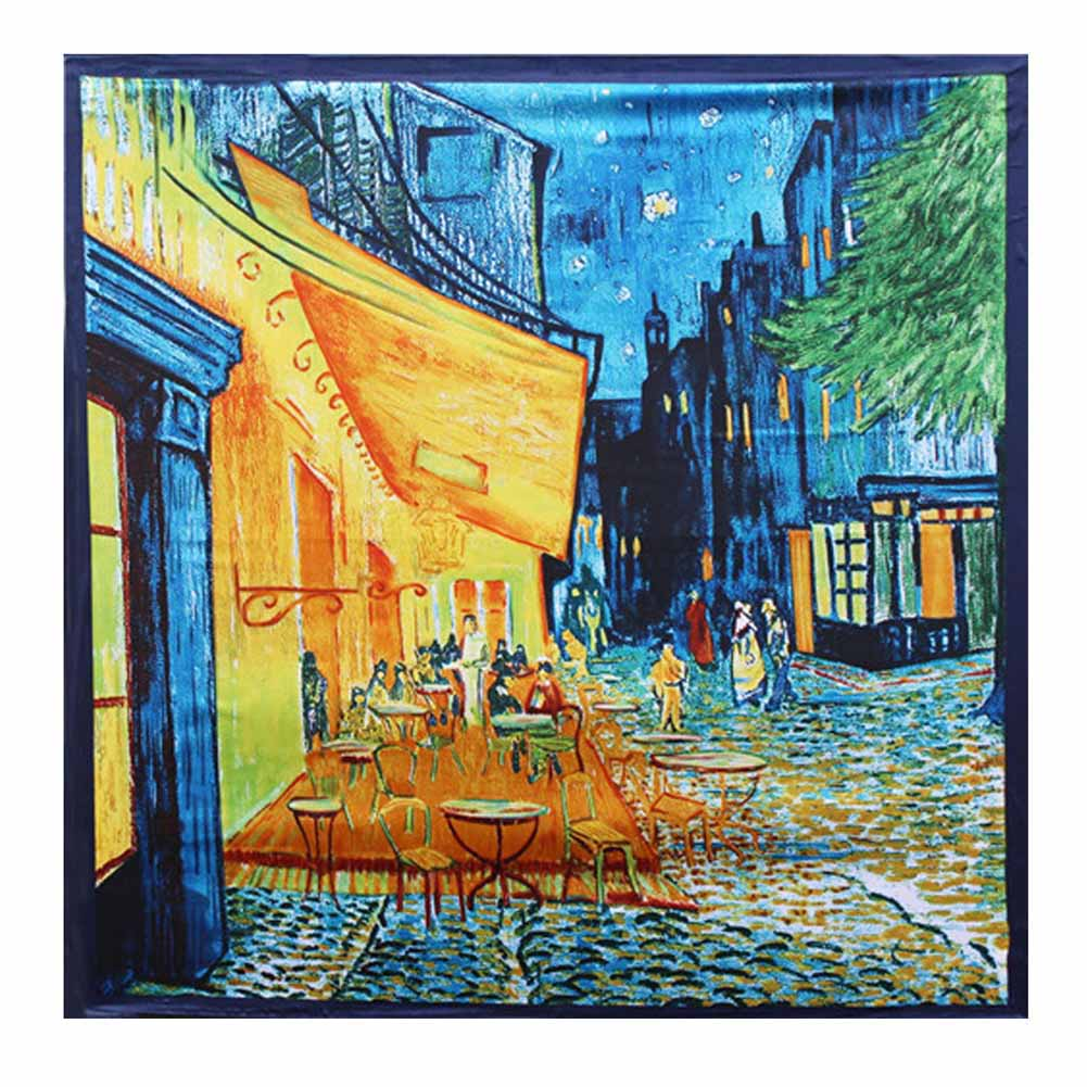 90*90cm Square Women Silk Scarf Fashion Oil Painting Design High Quality Ladies Scarves And Shawl For Spring And Fall
