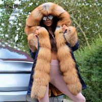 Tatyana Mode Winter Echt Pelzmantel Frauen Luxus Weibliche Parka Real Mit Fuchs Kragen 2018 Jacke Lange Parkas Kapuze Top qualität
