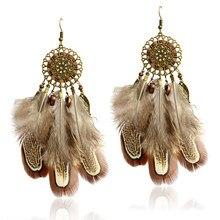 Menina zoe estilo indiano dreamcatcher contas danglers longo pena gota brincos bohemia étnico vintage charme boho jóias de férias