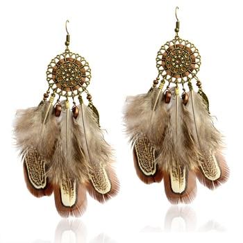 Boucle d'oreille ethnique plume
