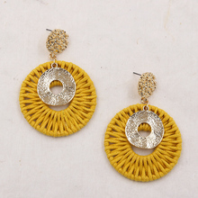 Wicker Earrings for Women Bohemian Rope Woven Earring Round Gold Hammered Statement Earing Vintage Jewelry Pendientes Grandes