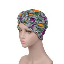Muzułmanki Turban afrykański wzór węzeł Headwrap moda ciepłe czapki Bandana