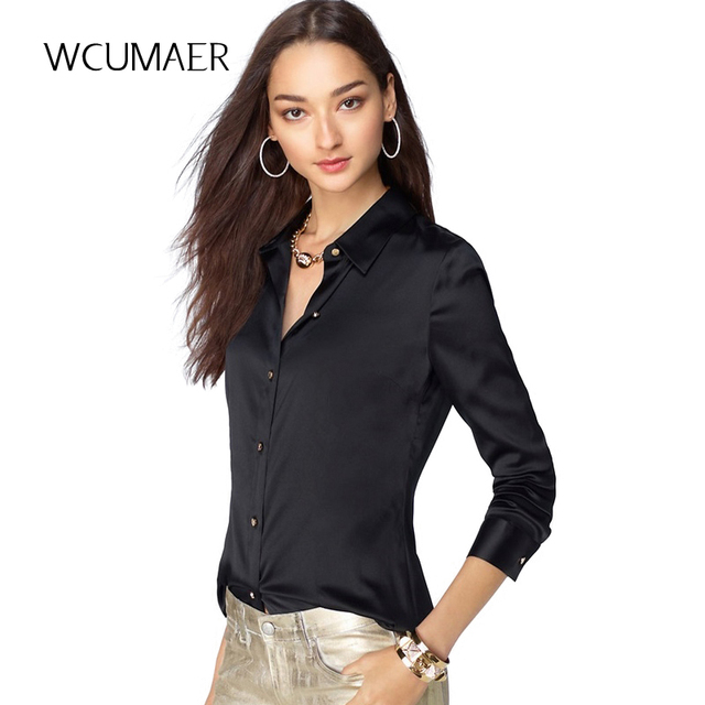 42e1ced3863 S-XXXL Женская мода шелковая атласная блузка кнопка женские шелковые блузки  рубашка Повседневная офисная белая