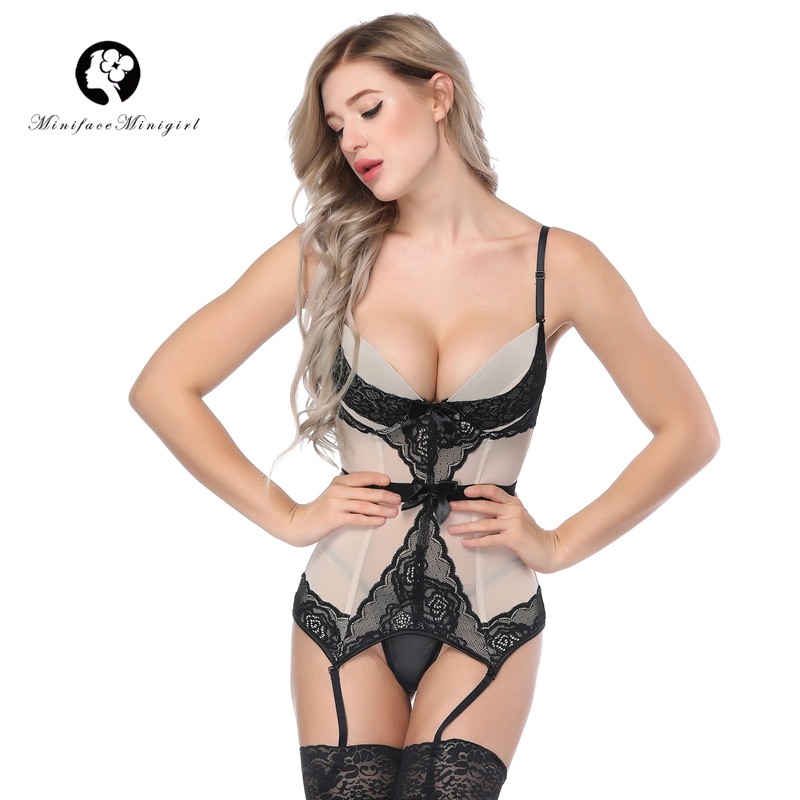 Minifaceminigirl Sexy   Corsets   And   Bustiers   Women High Quality Apricot Push Up Lingerie Firm Lace Up Female   Bustier     Corset